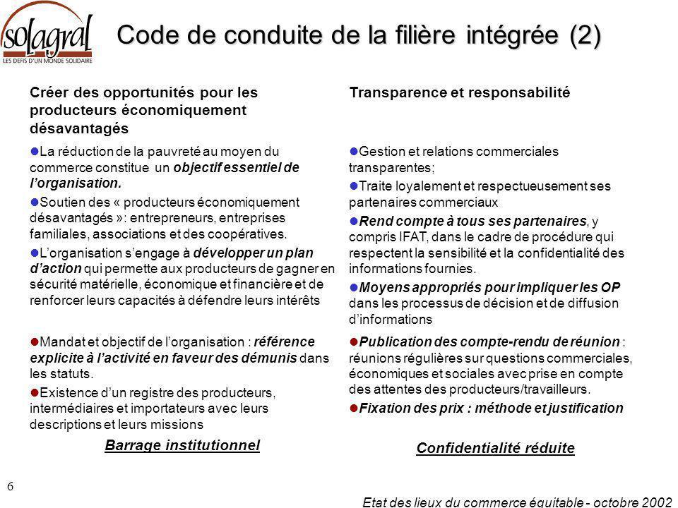 Etat des lieux du commerce équitable - octobre 2002 7 Code de conduite de la filière intégrée (3) Renforcement des capacités Promotion du commerce équitable Paiement d'un prix équitable Continuité des relations commerciales durant une période donnée convenue.