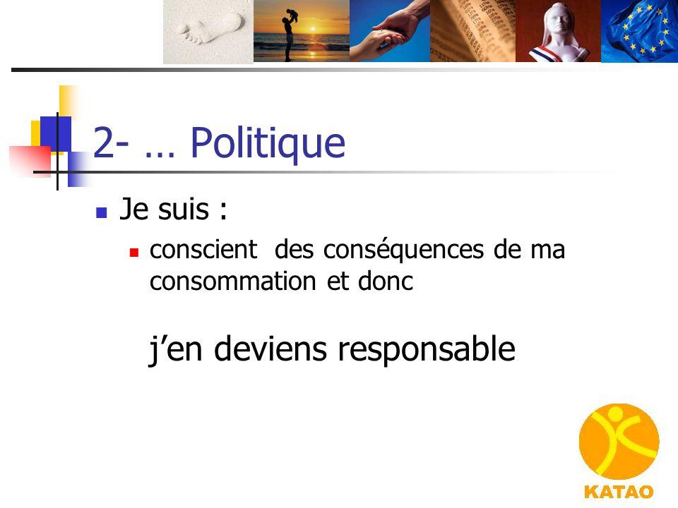 2- … Politique Je suis : conscient des conséquences de ma consommation et donc j'en deviens responsable