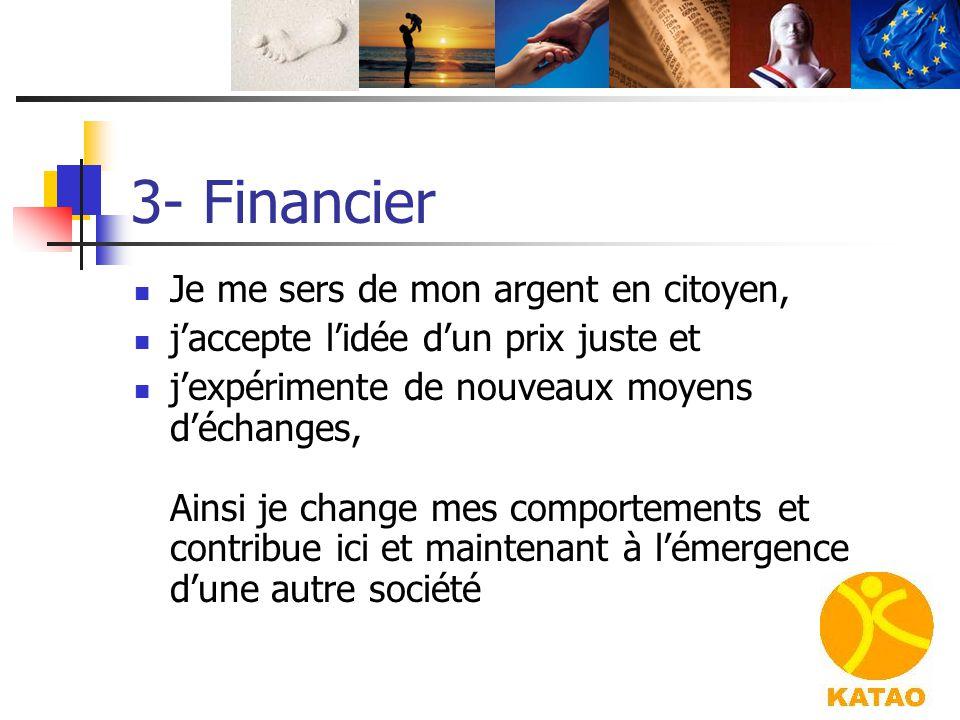 3- Financier Je me sers de mon argent en citoyen, j'accepte l'idée d'un prix juste et j'expérimente de nouveaux moyens d'échanges, Ainsi je change mes