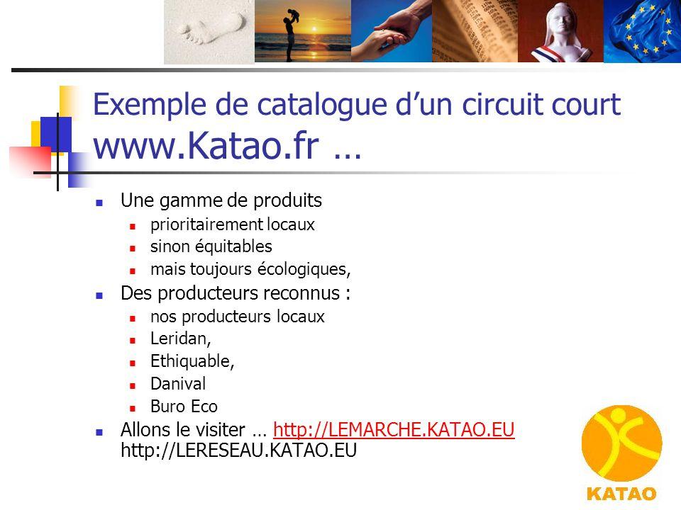 Exemple de catalogue d'un circuit court www.Katao.fr … Une gamme de produits prioritairement locaux sinon équitables mais toujours écologiques, Des pr