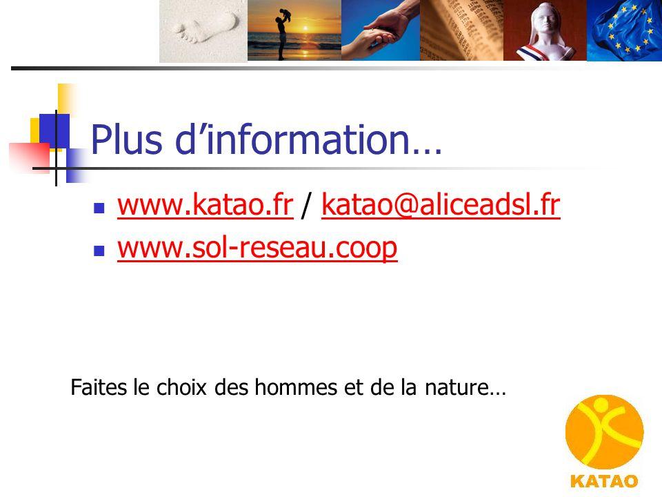 Plus d'information… www.katao.fr / katao@aliceadsl.fr www.katao.frkatao@aliceadsl.fr www.sol-reseau.coop Faites le choix des hommes et de la nature…