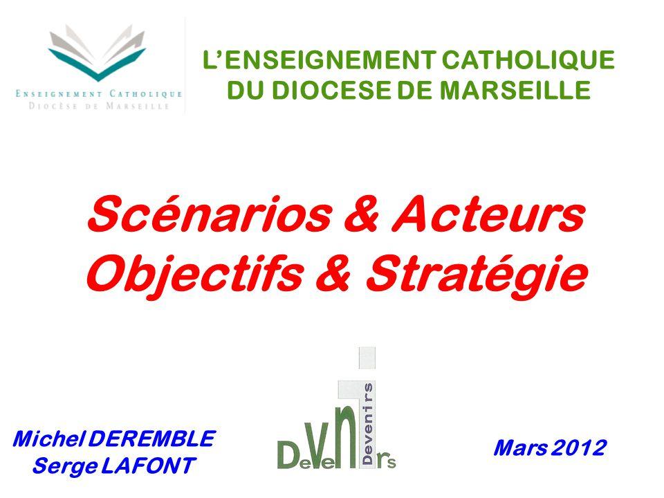 Mars 2012 Michel DEREMBLE Serge LAFONT L'ENSEIGNEMENT CATHOLIQUE DU DIOCESE DE MARSEILLE Scénarios & Acteurs Objectifs & Stratégie