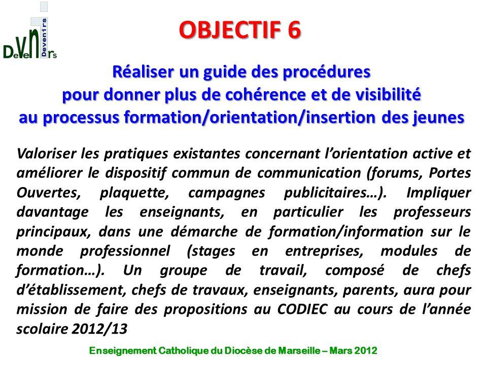 OBJECTIF 6 Réaliser un guide des procédures pour donner plus de cohérence et de visibilité au processus formation/orientation/insertion des jeunes Val