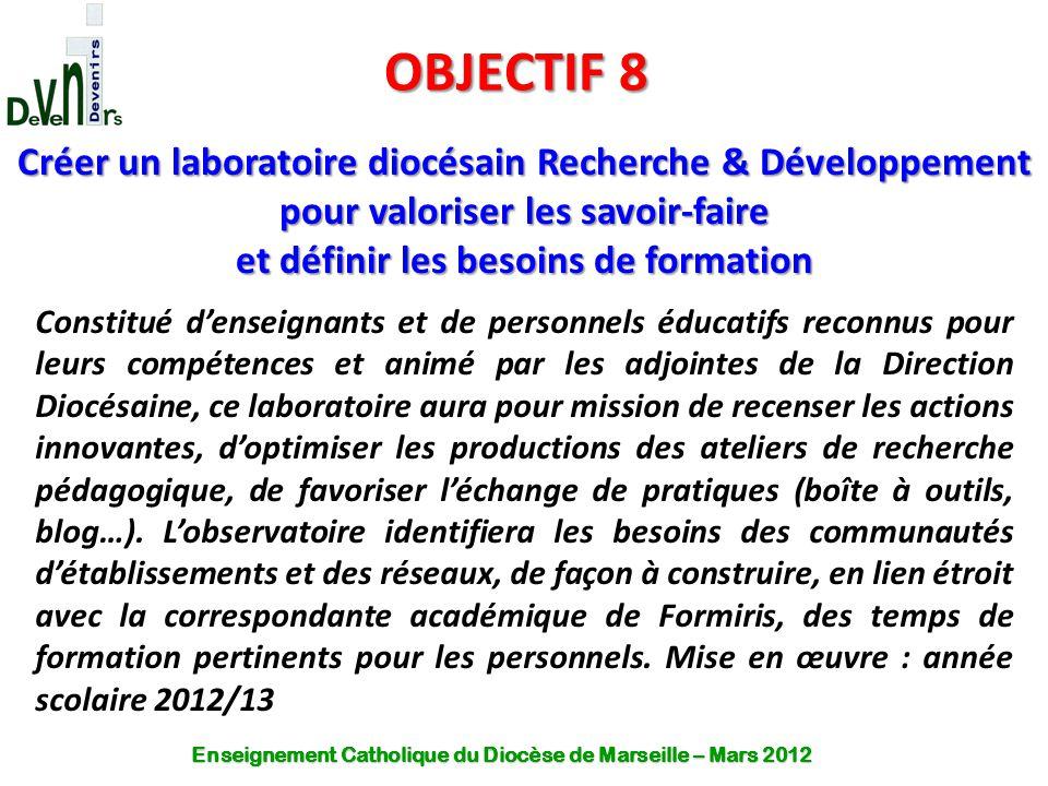OBJECTIF 8 Créer un laboratoire diocésain Recherche & Développement pour valoriser les savoir-faire et définir les besoins de formation Constitué d'en