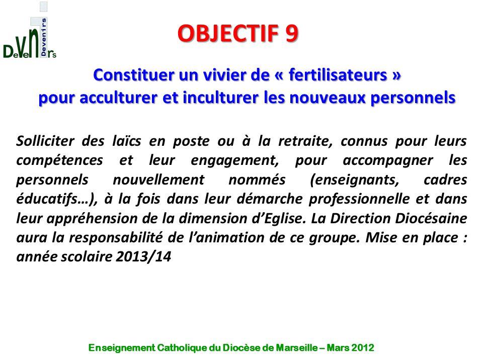 OBJECTIF 9 Constituer un vivier de « fertilisateurs » pour acculturer et inculturer les nouveaux personnels Solliciter des laïcs en poste ou à la retr