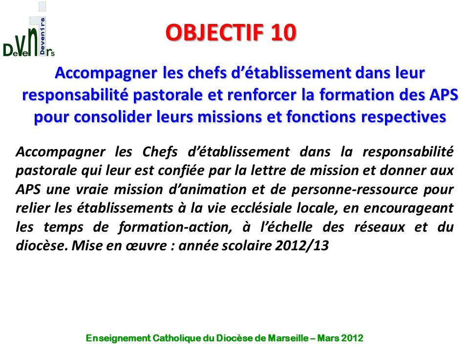 OBJECTIF 10 Accompagner les chefs d'établissement dans leur responsabilité pastorale et renforcer la formation des APS pour consolider leurs missions