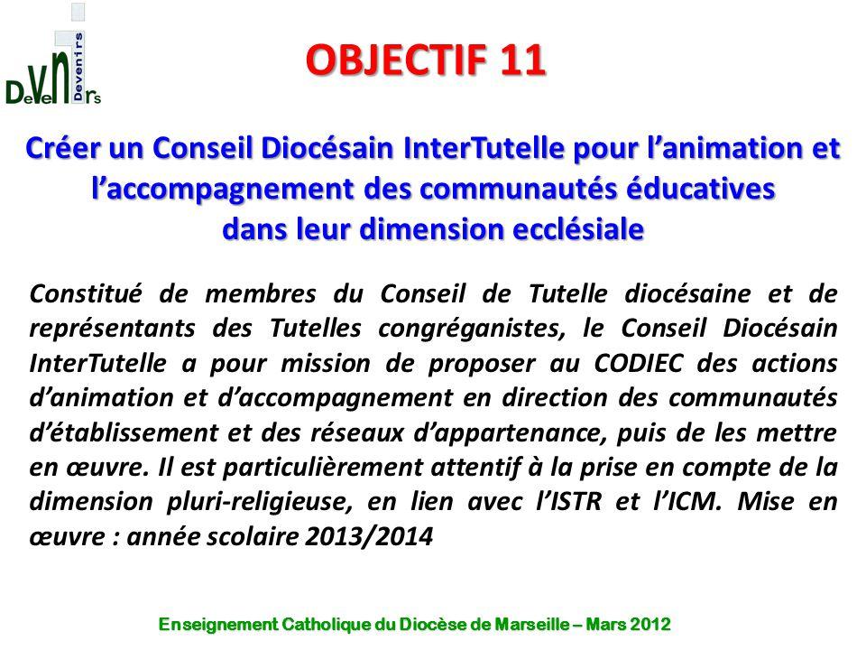 OBJECTIF 11 Créer un Conseil Diocésain InterTutelle pour l'animation et l'accompagnement des communautés éducatives dans leur dimension ecclésiale Con