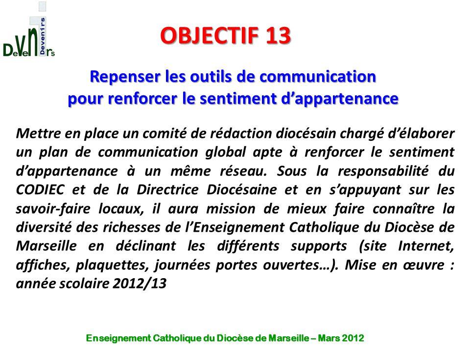 OBJECTIF 13 Repenser les outils de communication pour renforcer le sentiment d'appartenance Mettre en place un comité de rédaction diocésain chargé d'