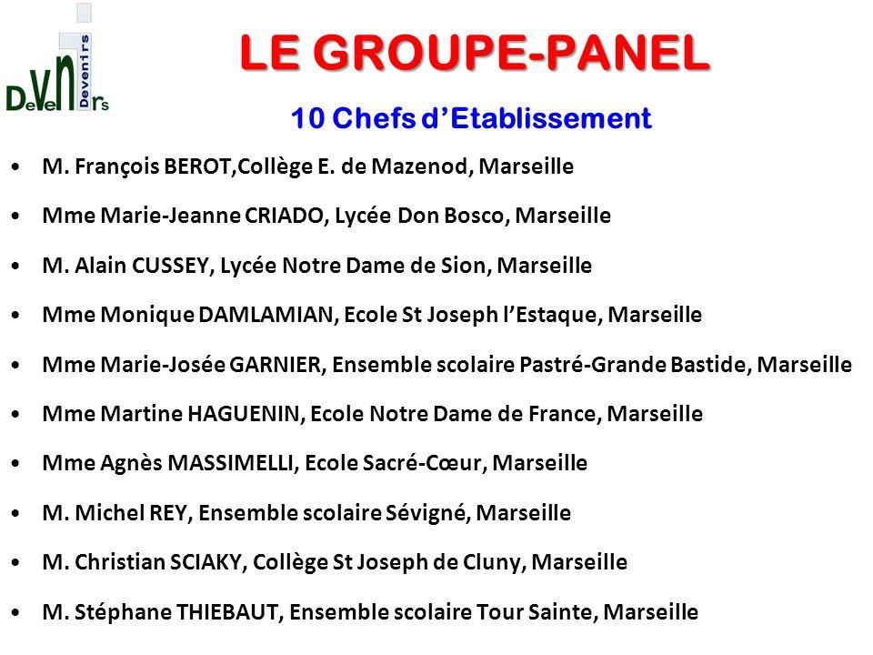 M. François BEROT,Collège E. de Mazenod, Marseille Mme Marie-Jeanne CRIADO, Lycée Don Bosco, Marseille M. Alain CUSSEY, Lycée Notre Dame de Sion, Mars