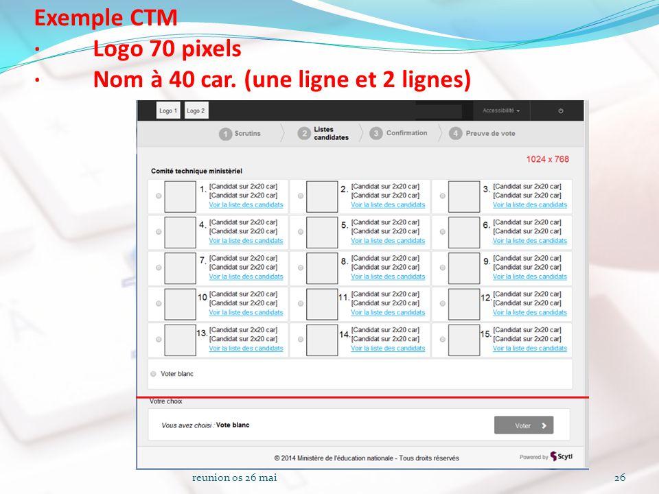 Exemple CTM · Logo 70 pixels · Nom à 40 car. (une ligne et 2 lignes) reunion os 26 mai26
