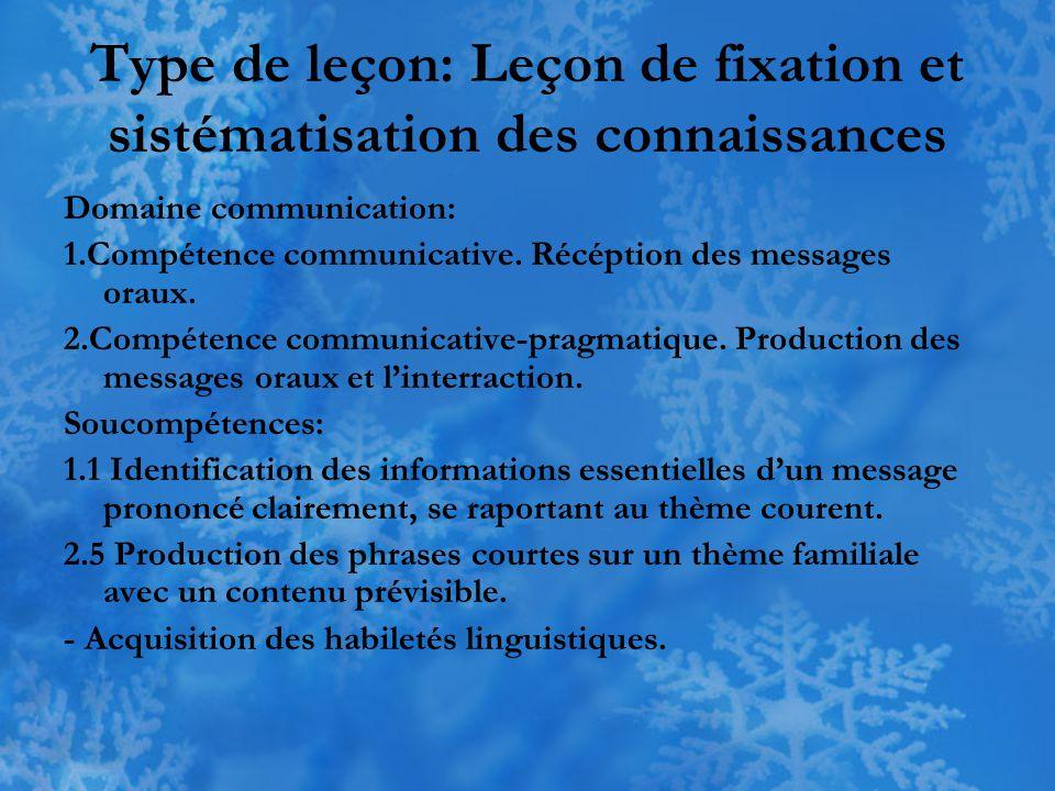 Type de leçon: Leçon de fixation et sistématisation des connaissances Domaine communication: 1.Compétence communicative. Récéption des messages oraux.
