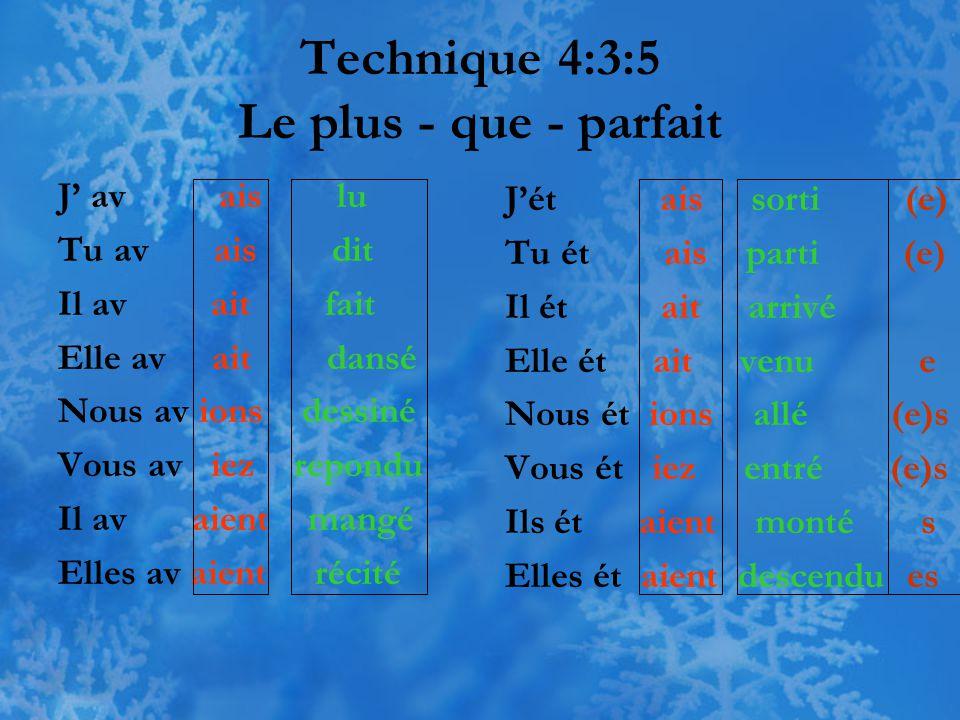 Technique 4:3:5 Le plus - que - parfait J' av ais lu Tu av ais dit Il av ait fait Elle av ait dansé Nous av ions dessiné Vous av iez repondu Il av aie