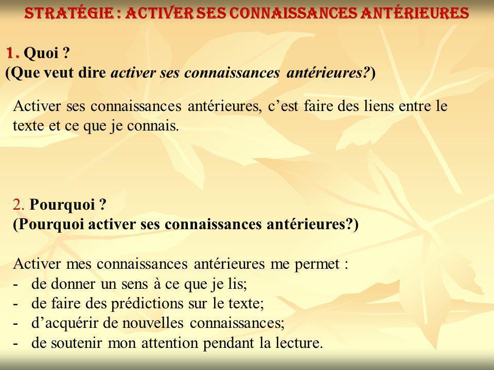 Stratégie : Activer ses connaissances antérieures 1.