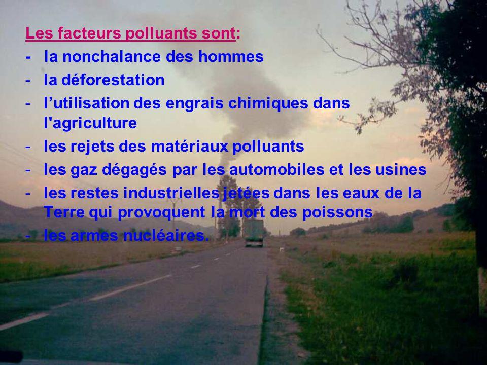 Les facteurs polluants sont: - la nonchalance des hommes -la déforestation -l'utilisation des engrais chimiques dans l'agriculture -les rejets des mat