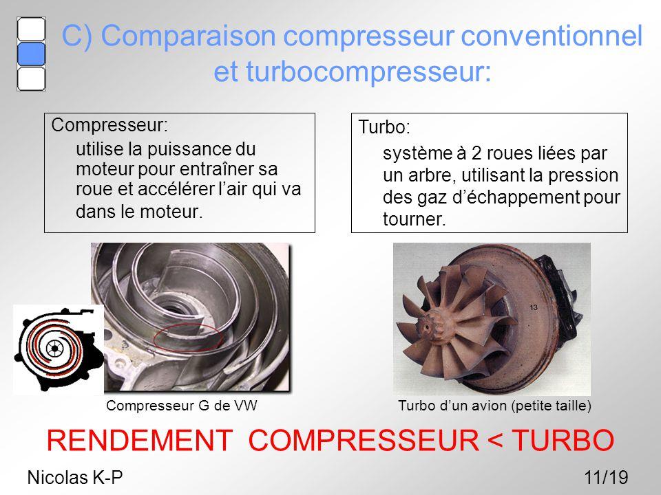 C) Comparaison compresseur conventionnel et turbocompresseur: Compresseur: utilise la puissance du moteur pour entraîner sa roue et accélérer l'air qu