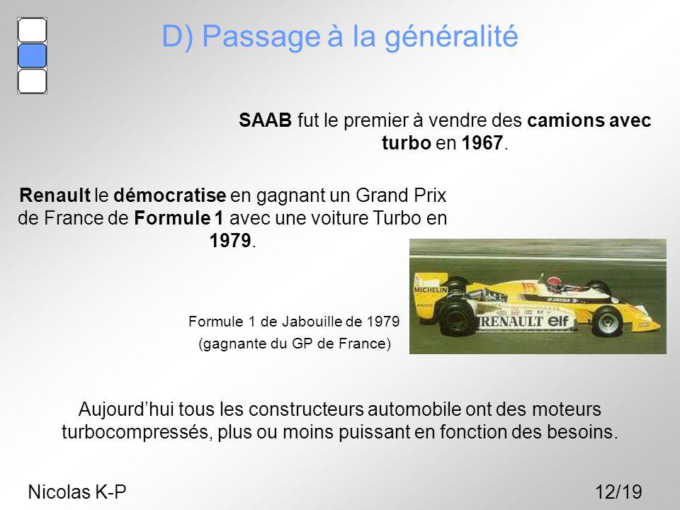 Nicolas K-P12/19 SAAB fut le premier à vendre des camions avec turbo en 1967. D) Passage à la généralité Renault le démocratise en gagnant un Grand Pr