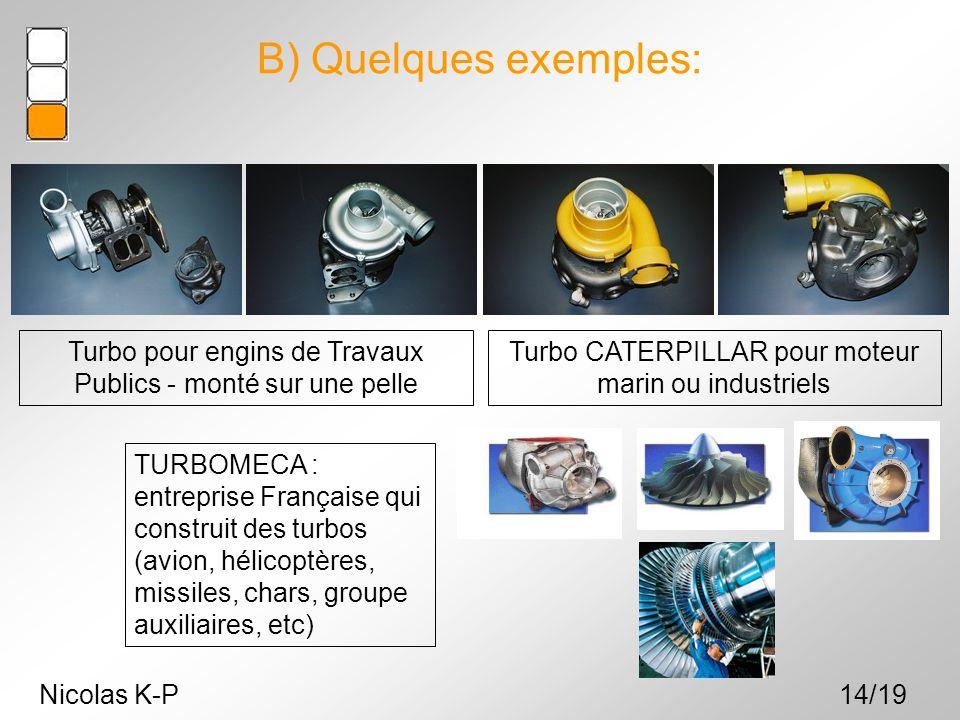Nicolas K-P14/19 Turbo CATERPILLAR pour moteur marin ou industriels Turbo pour engins de Travaux Publics - monté sur une pelle B) Quelques exemples: T