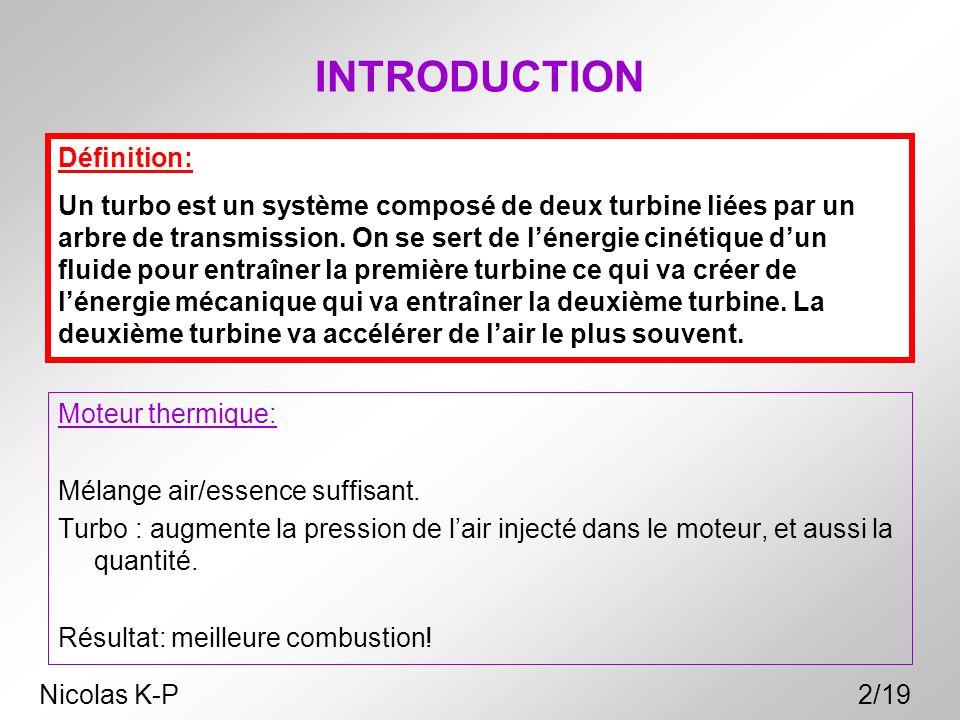 INTRODUCTION Moteur thermique: Mélange air/essence suffisant. Turbo : augmente la pression de l'air injecté dans le moteur, et aussi la quantité. Résu