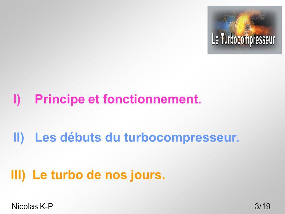 I) Principe et fonctionnement. II) Les débuts du turbocompresseur. III) Le turbo de nos jours. Nicolas K-P3/19