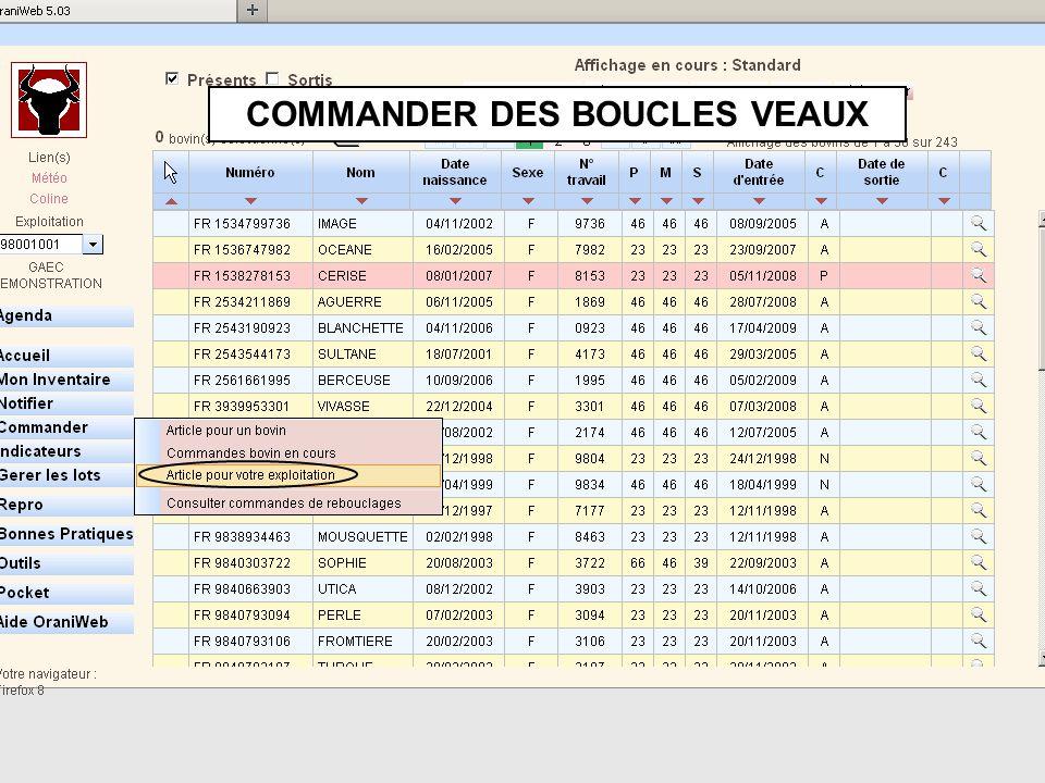 COMMANDER DES BOUCLES VEAUX