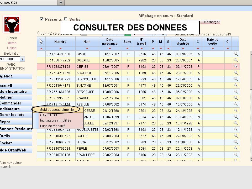 CONSULTER DES DONNEES