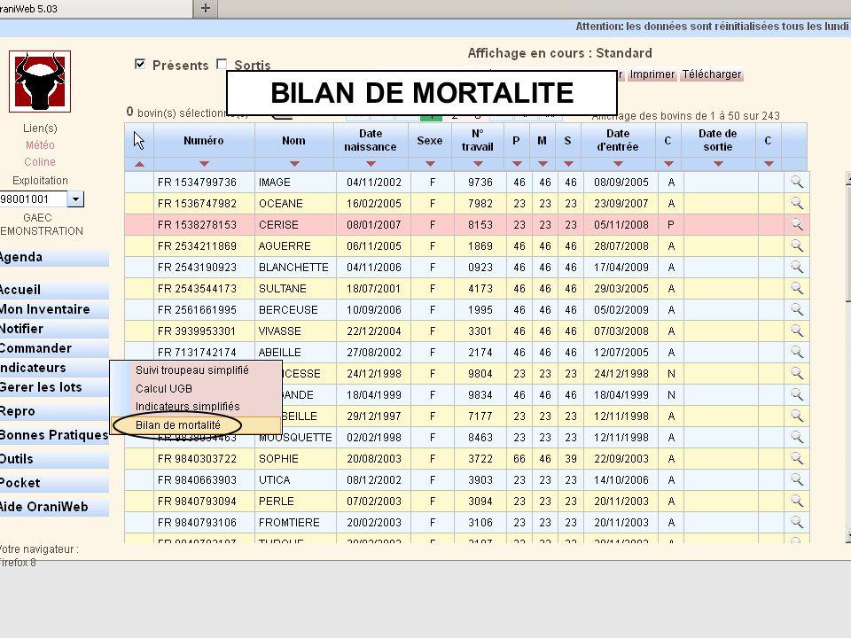 BILAN DE MORTALITE