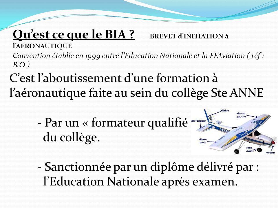 Qu'est ce que le BIA ? BREVET d'INITIATION à l'AERONAUTIQUE C'est l'aboutissement d'une formation à l'aéronautique faite au sein du collège Ste ANNE -