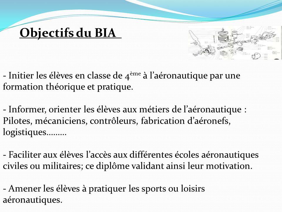 Objectifs du BIA - Initier les élèves en classe de 4 ème à l'aéronautique par une formation théorique et pratique. - Informer, orienter les élèves aux