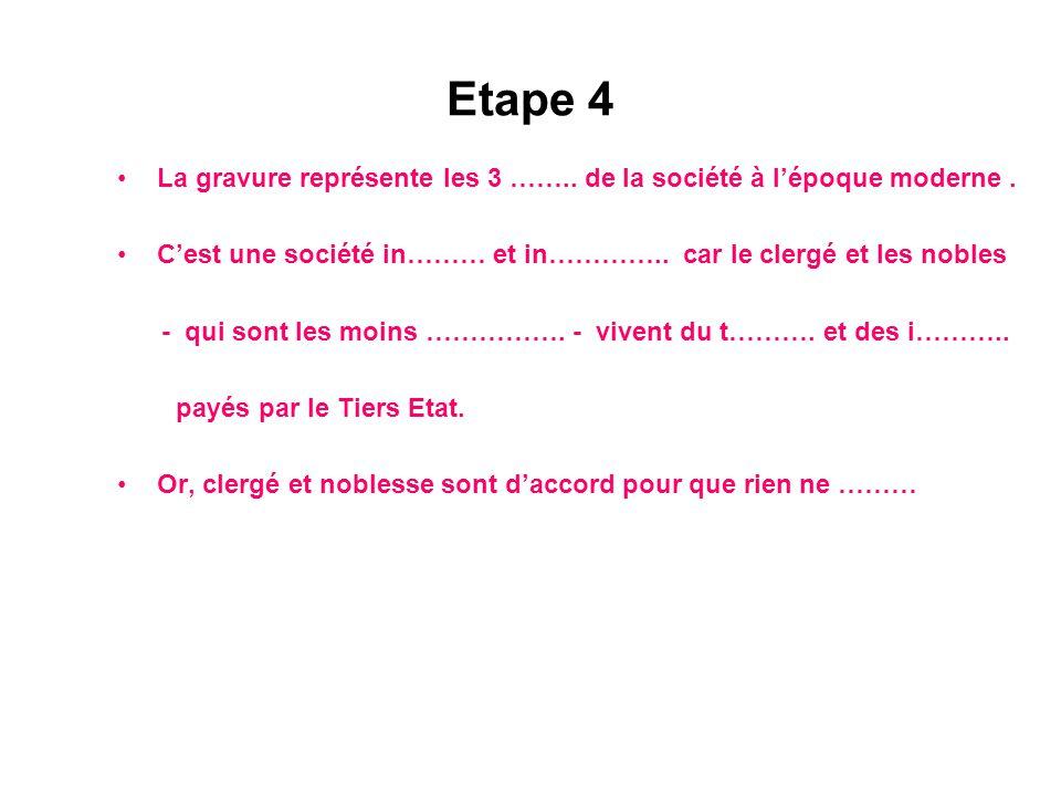 Etape 4 La gravure représente les 3 ……..de la société à l'époque moderne.