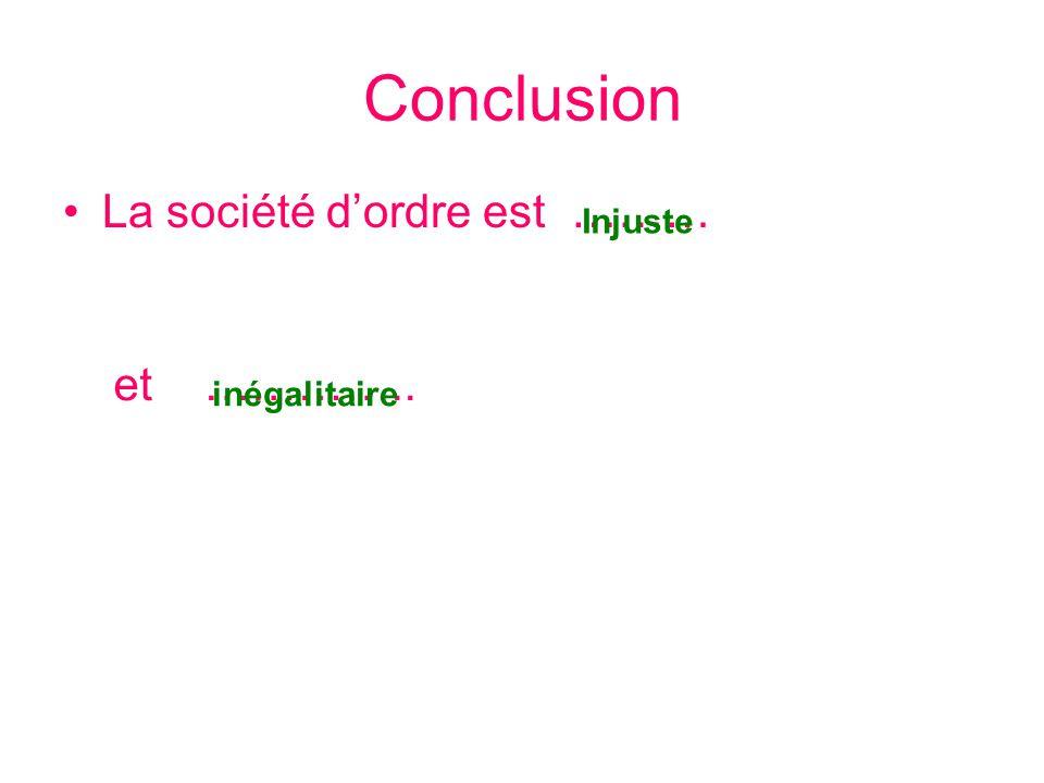 Conclusion La société d'ordre est ……… et ………….. Injuste inégalitaire