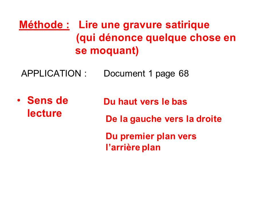 APPLICATION : Document 1 page 68 Méthode : Lire une gravure satirique (qui dénonce quelque chose en se moquant) Sens de lecture Du haut vers le bas De la gauche vers la droite Du premier plan vers l'arrière plan