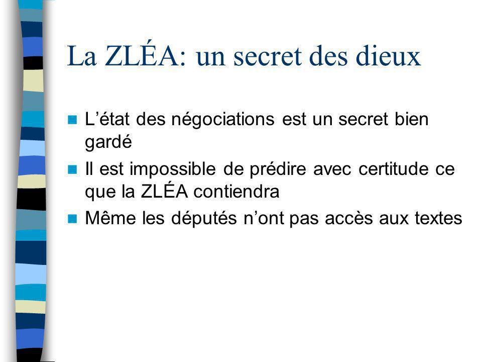 La ZLÉA: un secret des dieux L'état des négociations est un secret bien gardé Il est impossible de prédire avec certitude ce que la ZLÉA contiendra Mê