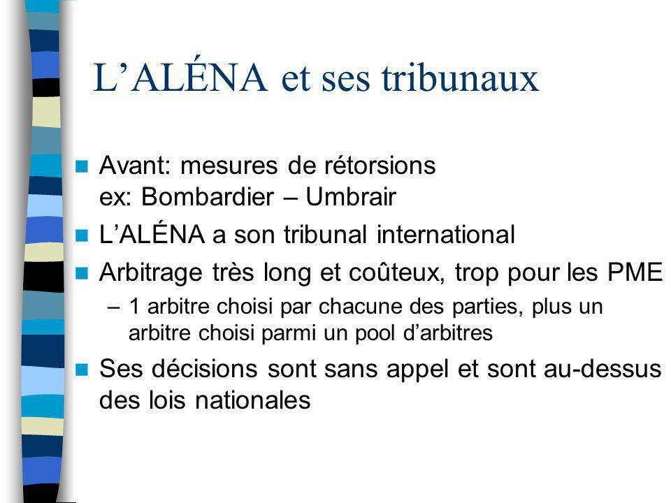 L'ALÉNA et ses tribunaux Avant: mesures de rétorsions ex: Bombardier – Umbrair L'ALÉNA a son tribunal international Arbitrage très long et coûteux, tr