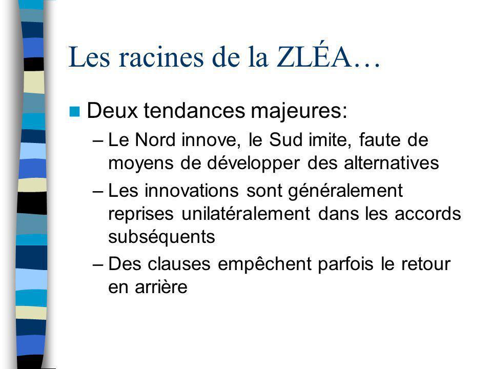 Les racines de la ZLÉA… Deux tendances majeures: –Le Nord innove, le Sud imite, faute de moyens de développer des alternatives –Les innovations sont g