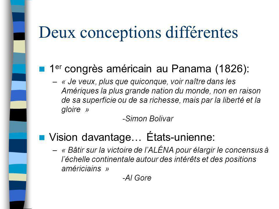 Deux conceptions différentes 1 er congrès américain au Panama (1826): –« Je veux, plus que quiconque, voir naître dans les Amériques la plus grande na