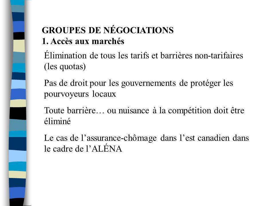 GROUPES DE NÉGOCIATIONS 1. Accès aux marchés Élimination de tous les tarifs et barrières non-tarifaires (les quotas) Pas de droit pour les gouvernemen