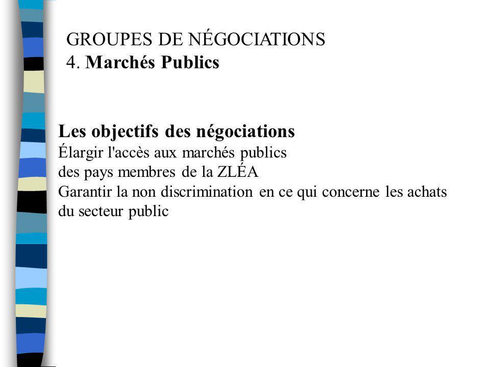 Les objectifs des négociations Élargir l'accès aux marchés publics des pays membres de la ZLÉA Garantir la non discrimination en ce qui concerne les a