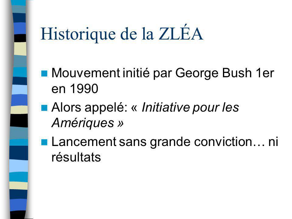Historique de la ZLÉA Mouvement initié par George Bush 1er en 1990 Alors appelé: « Initiative pour les Amériques » Lancement sans grande conviction… n