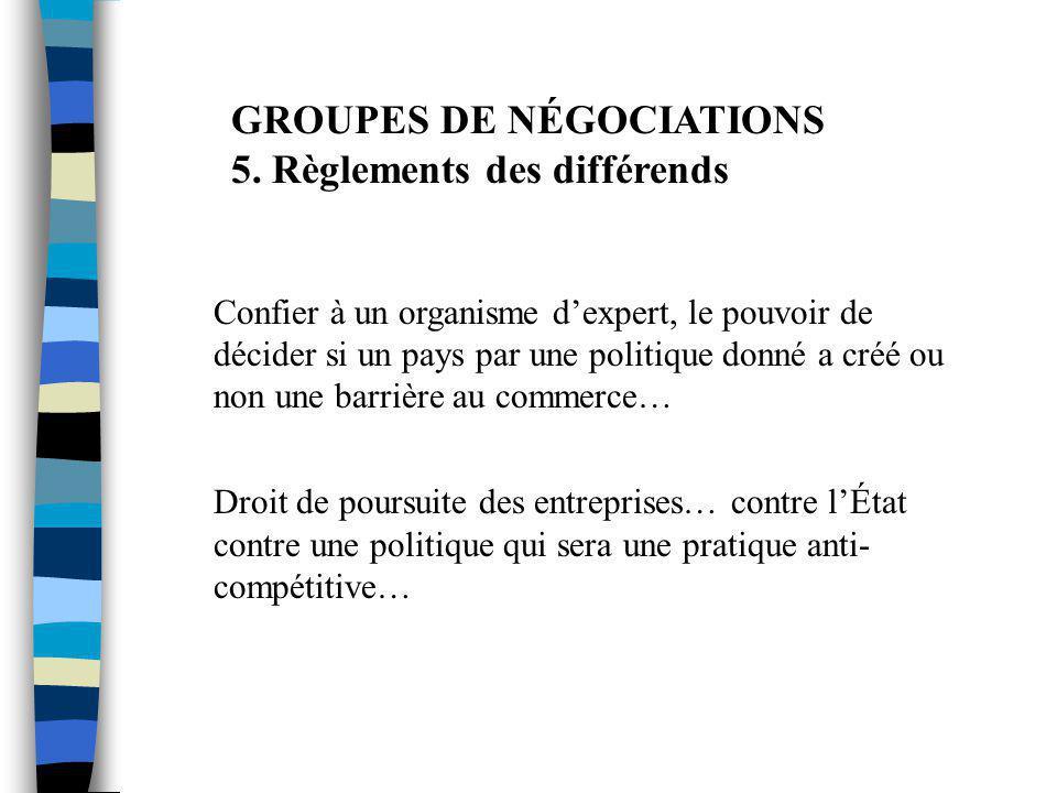 GROUPES DE NÉGOCIATIONS 5. Règlements des différends Confier à un organisme d'expert, le pouvoir de décider si un pays par une politique donné a créé