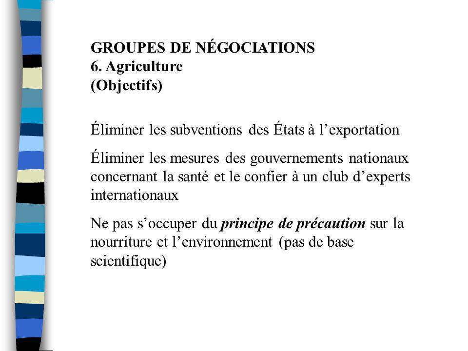 GROUPES DE NÉGOCIATIONS 6. Agriculture (Objectifs) Éliminer les subventions des États à l'exportation Éliminer les mesures des gouvernements nationaux