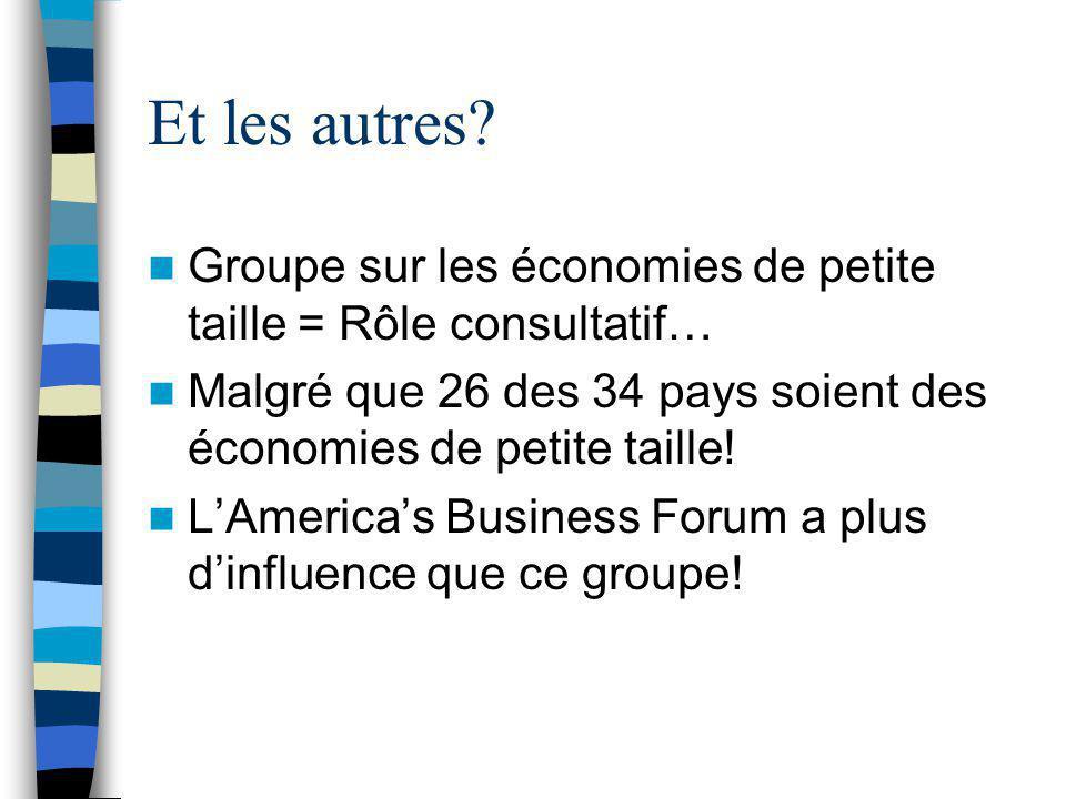 Et les autres? Groupe sur les économies de petite taille = Rôle consultatif… Malgré que 26 des 34 pays soient des économies de petite taille! L'Americ