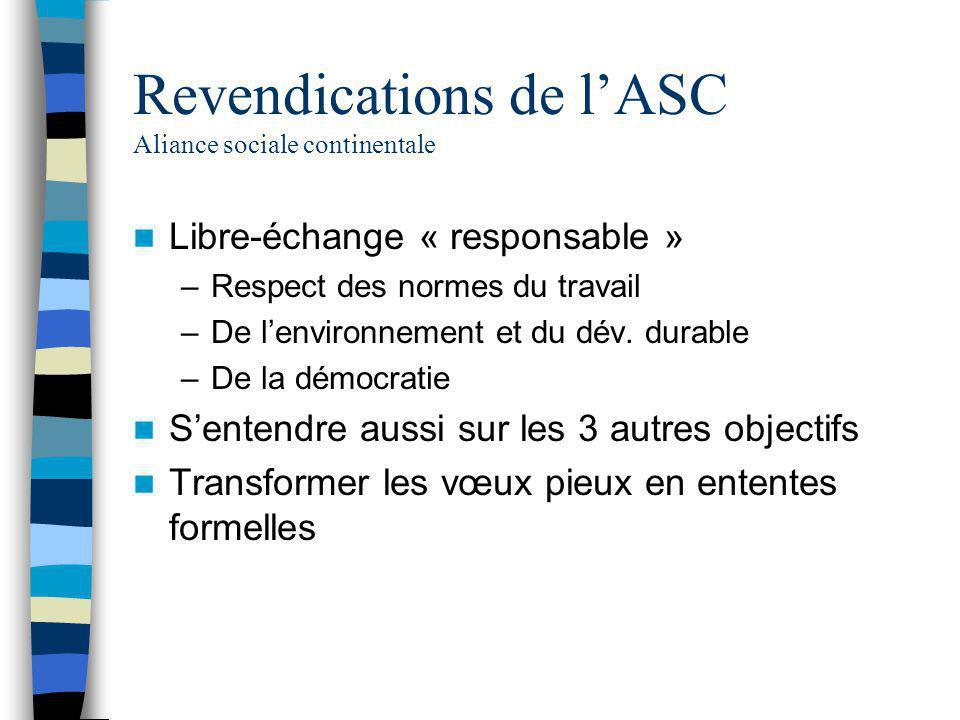 Revendications de l'ASC Aliance sociale continentale Libre-échange « responsable » –Respect des normes du travail –De l'environnement et du dév. durab