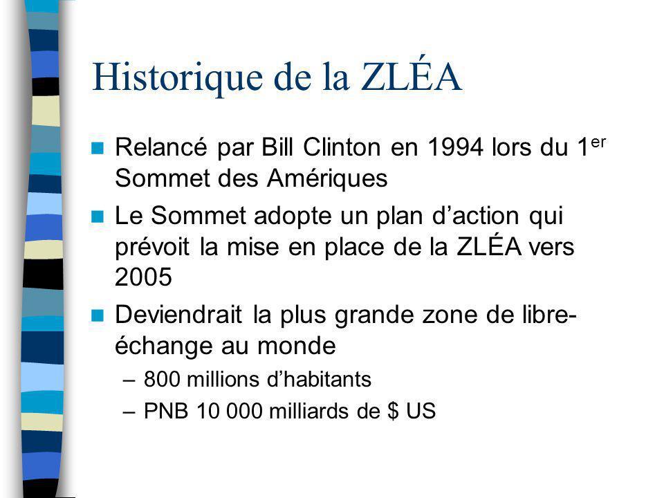 Historique de la ZLÉA Accord de libre-échange Canada – États- Unis (1989) –Négocié entre 1985 – 1989 –Intégration progressive de deux économies de composition similaire –Canada: PIB 658 MM$ (8%) –É.-U.: PIB 8083 MM$ (92%)* *: Données de 1998