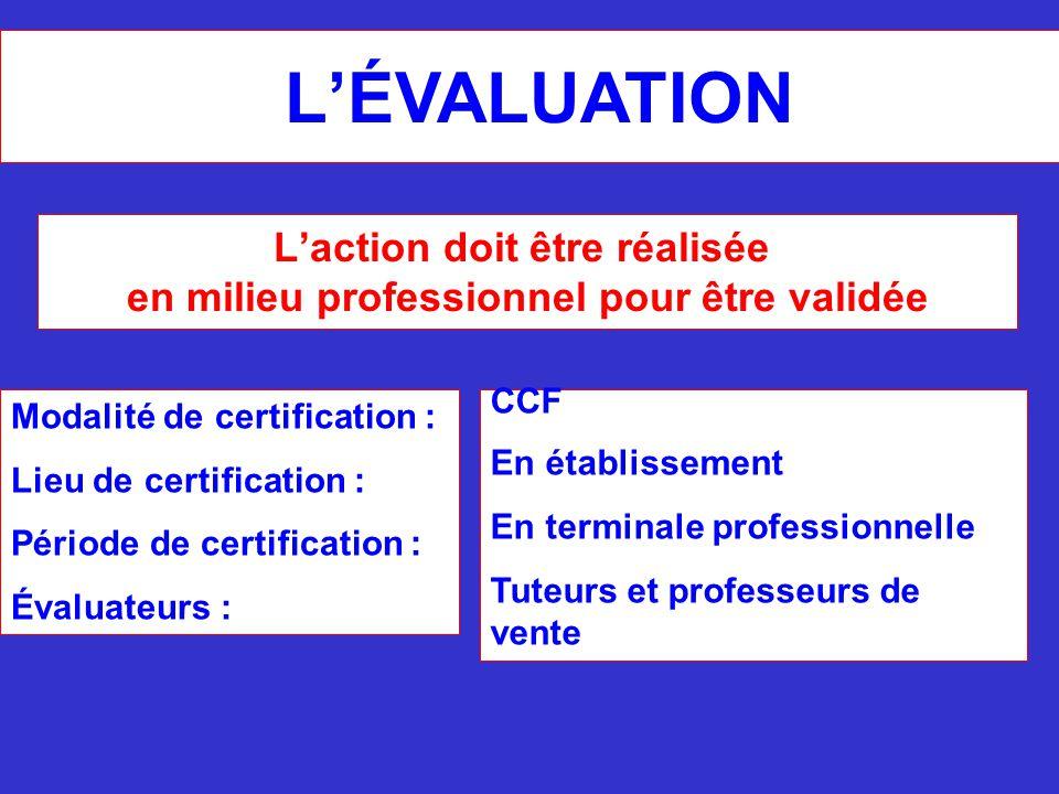 L'ÉVALUATION Modalité de certification : Lieu de certification : Période de certification : Évaluateurs : CCF En établissement En terminale profession