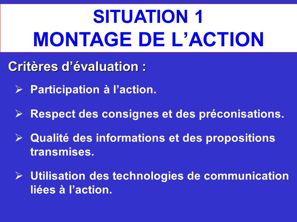 SITUATION 1 MONTAGE DE L'ACTION Critères d'évaluation :  Participation à l'action.  Respect des consignes et des préconisations.  Qualité des infor