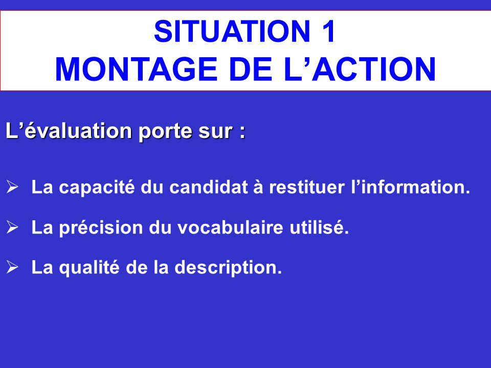 SITUATION 1 MONTAGE DE L'ACTION L'évaluation porte sur :  La capacité du candidat à restituer l'information.  La précision du vocabulaire utilisé. 