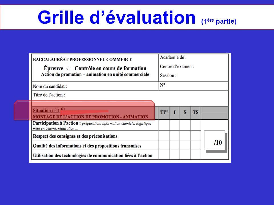 Grille d'évaluation (1 ère partie) U11