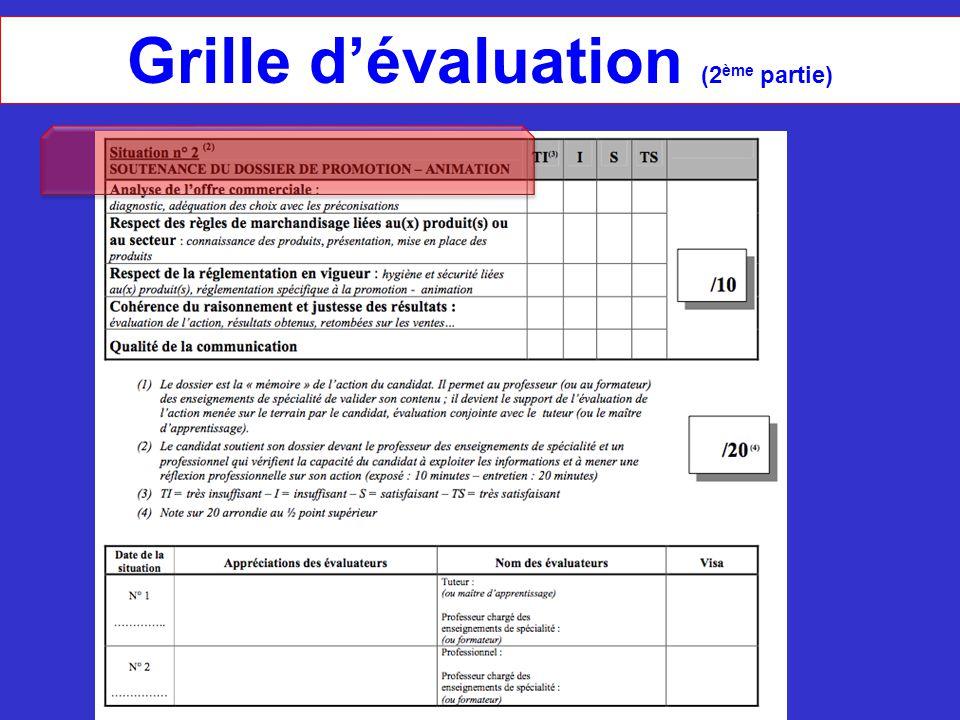 Grille d'évaluation (2 ème partie)