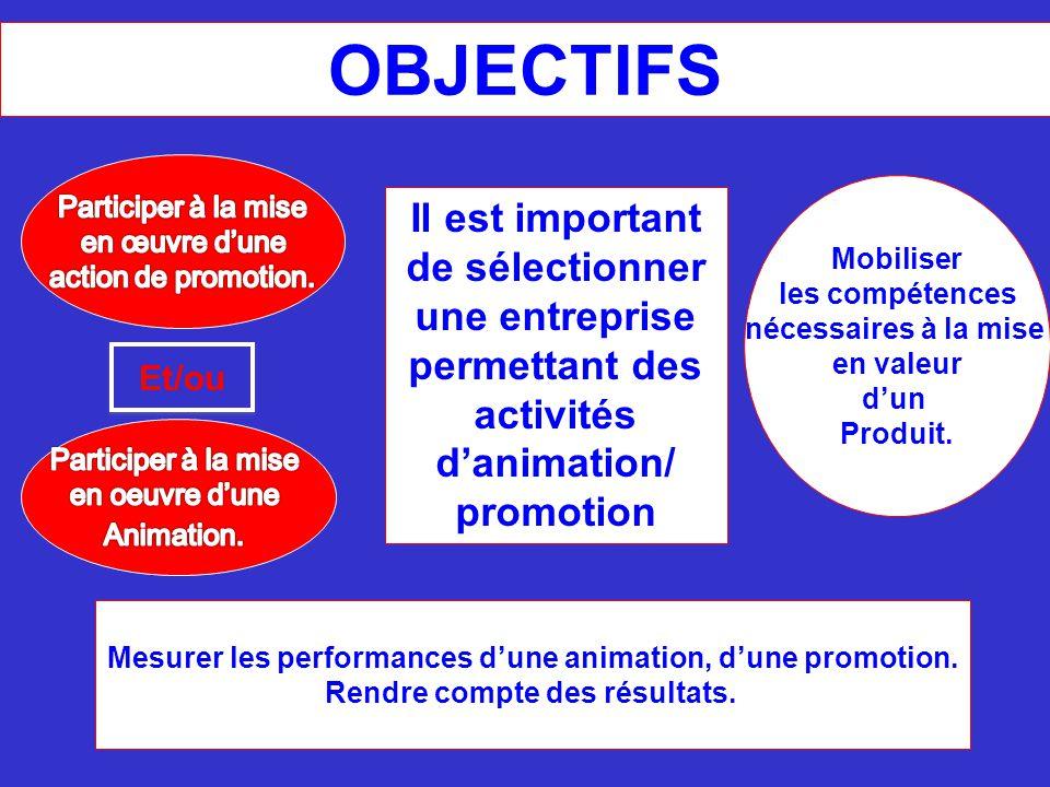 Il est important de sélectionner une entreprise permettant des activités d'animation/ promotion Mobiliser les compétences nécessaires à la mise en val