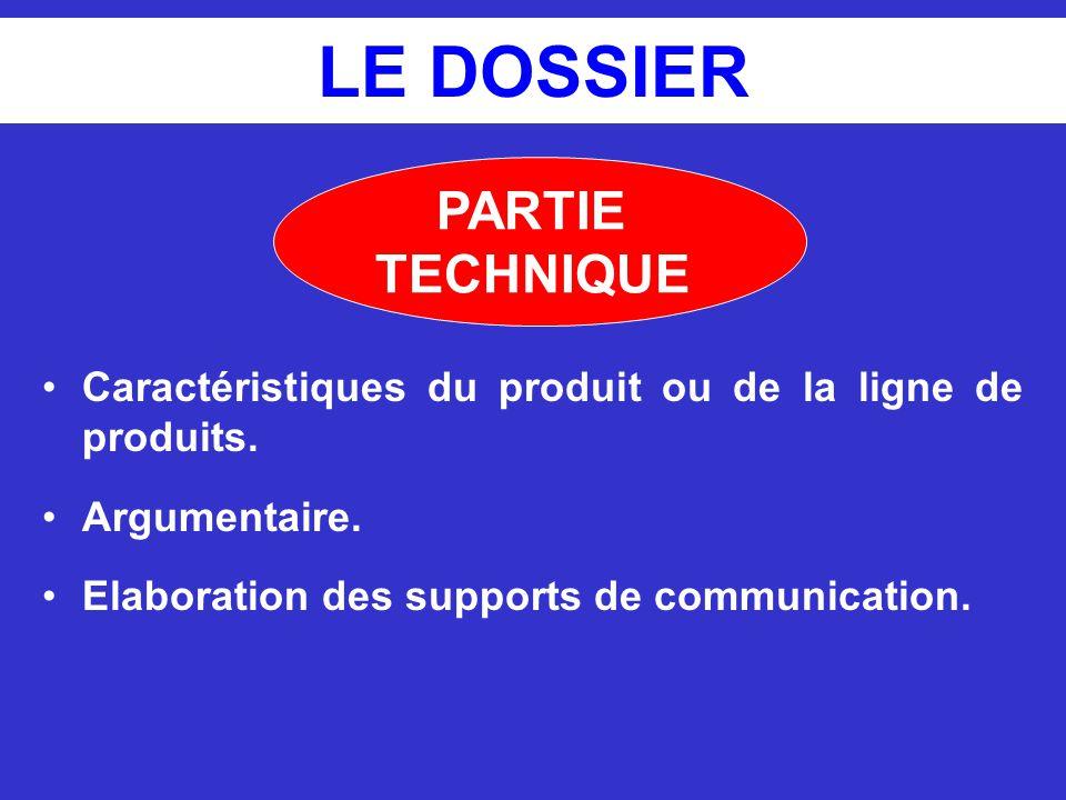 LE DOSSIER Caractéristiques du produit ou de la ligne de produits. Argumentaire. Elaboration des supports de communication. PARTIE TECHNIQUE